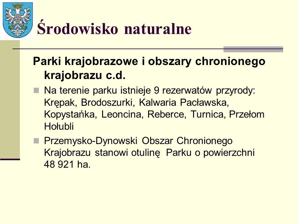 Środowisko naturalne Parki krajobrazowe i obszary chronionego krajobrazu c.d.