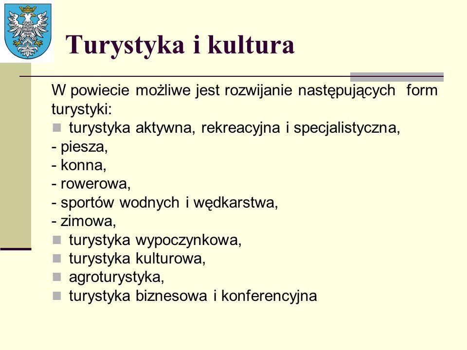Turystyka i kultura W powiecie możliwe jest rozwijanie następujących form. turystyki: turystyka aktywna, rekreacyjna i specjalistyczna,