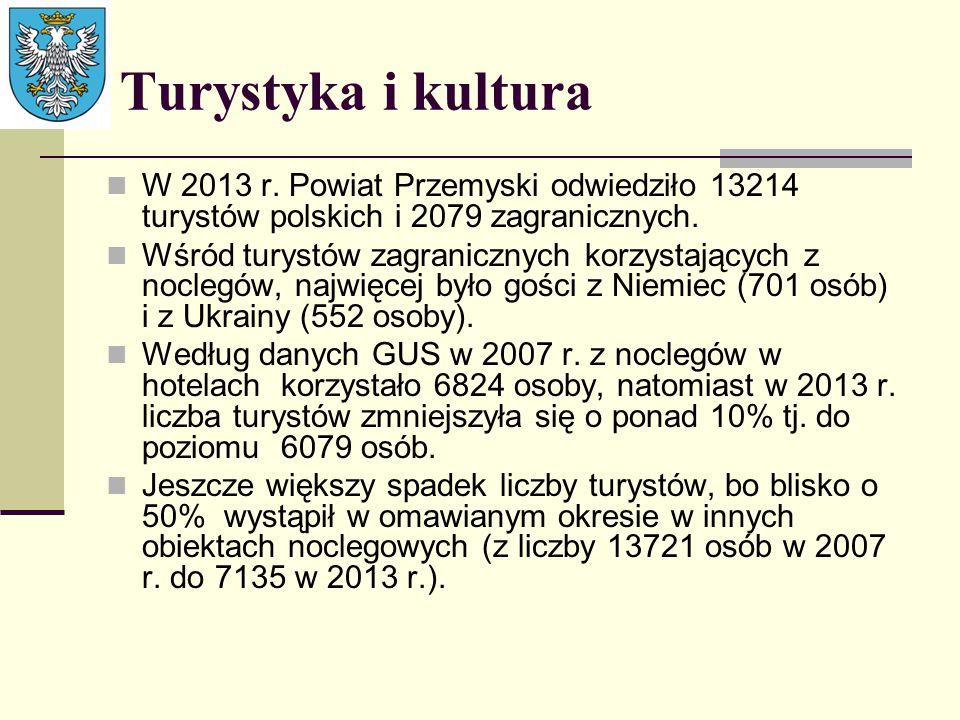 Turystyka i kultura W 2013 r. Powiat Przemyski odwiedziło 13214 turystów polskich i 2079 zagranicznych.