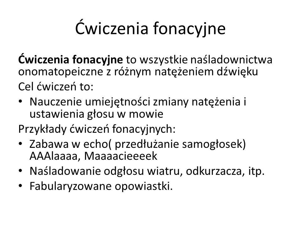Ćwiczenia fonacyjne Ćwiczenia fonacyjne to wszystkie naśladownictwa onomatopeiczne z różnym natężeniem dźwięku.