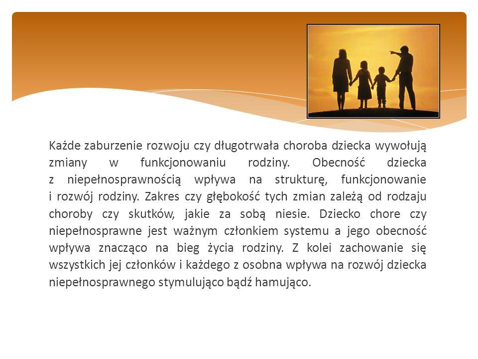 Każde zaburzenie rozwoju czy długotrwała choroba dziecka wywołują zmiany w funkcjonowaniu rodziny.