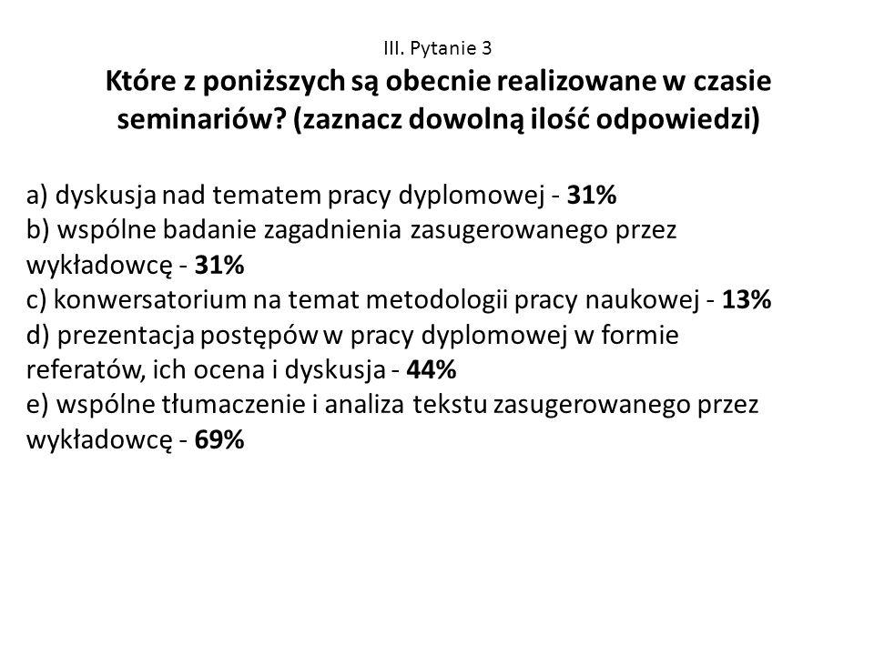 III. Pytanie 3 Które z poniższych są obecnie realizowane w czasie seminariów (zaznacz dowolną ilość odpowiedzi)