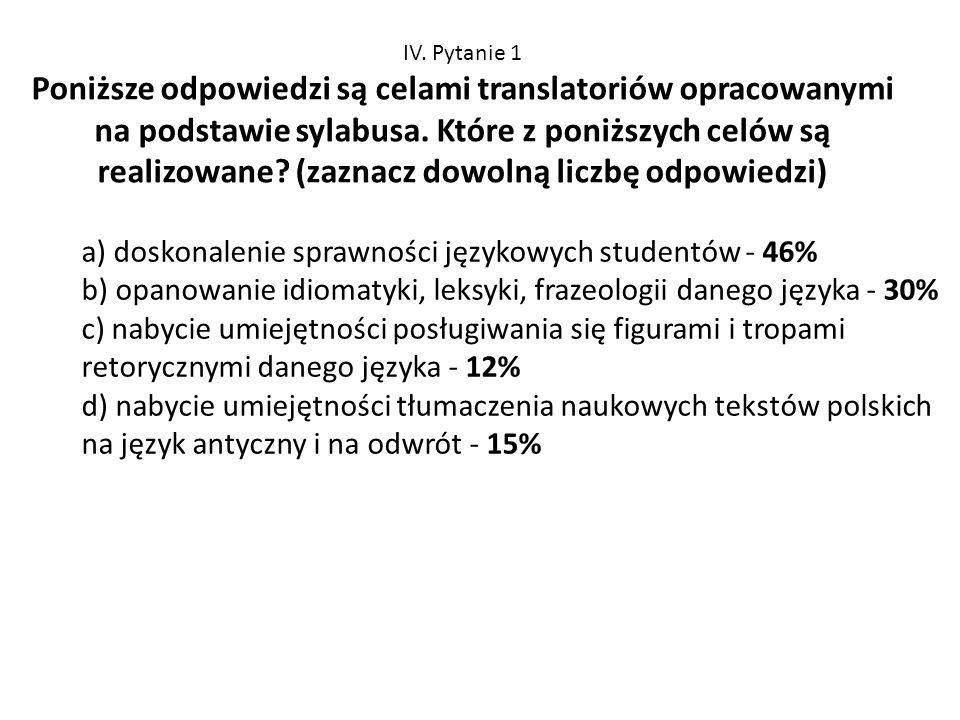 a) doskonalenie sprawności językowych studentów - 46%