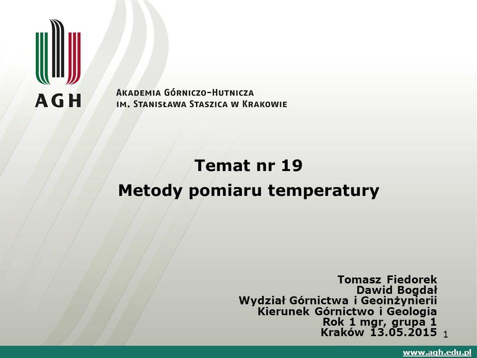 Temat nr 19 Metody pomiaru temperatury