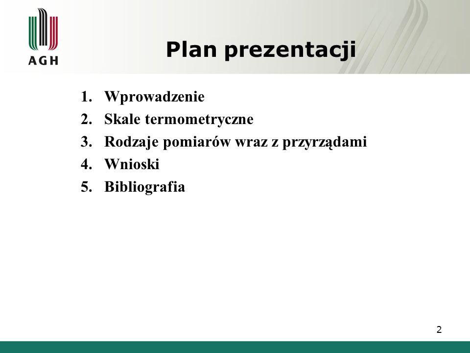 Plan prezentacji Wprowadzenie Skale termometryczne