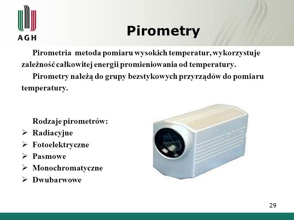 Pirometry Pirometria metoda pomiaru wysokich temperatur, wykorzystuje