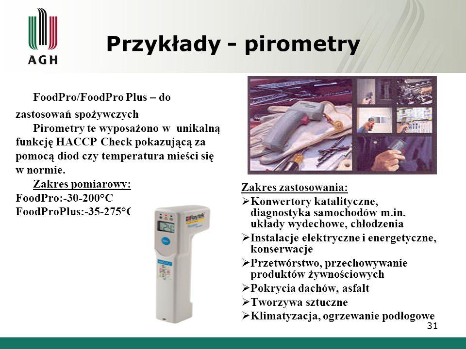 Przykłady - pirometry FoodPro/FoodPro Plus – do zastosowań spożywczych