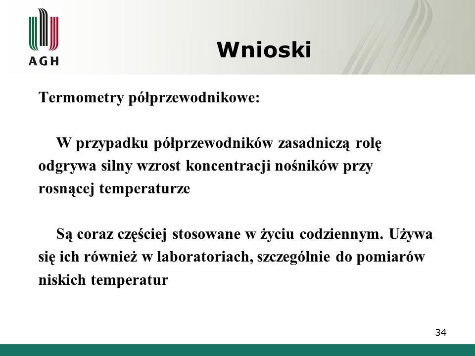 Wnioski Termometry półprzewodnikowe: