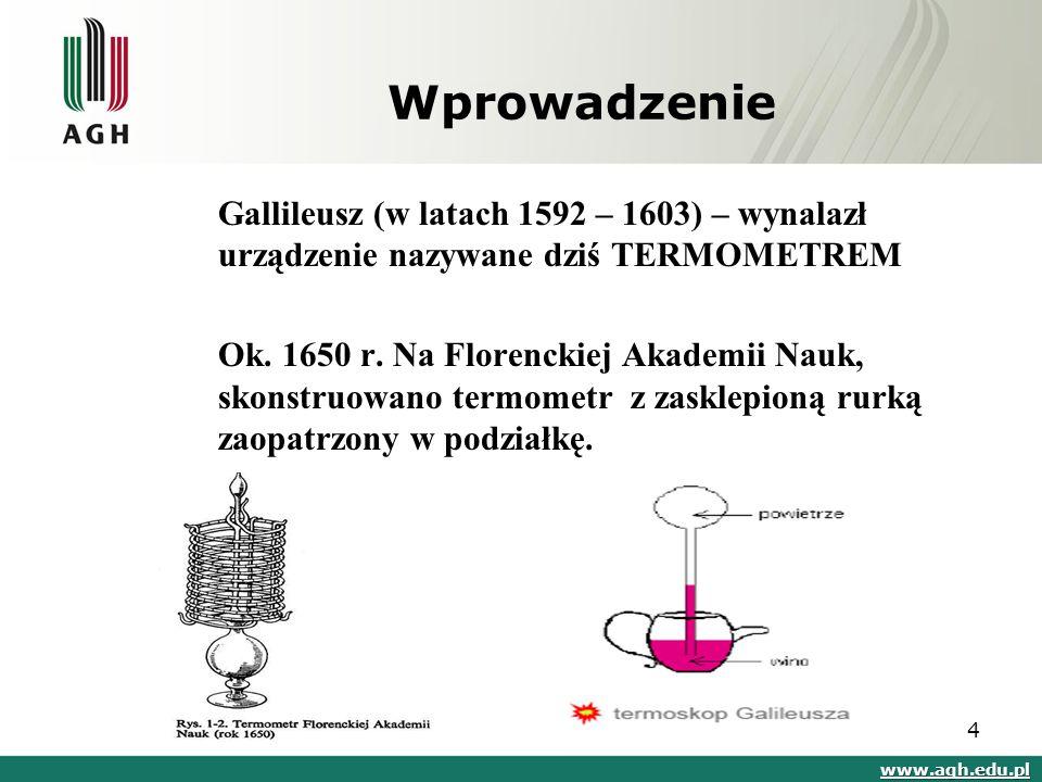 Wprowadzenie Gallileusz (w latach 1592 – 1603) – wynalazł urządzenie nazywane dziś TERMOMETREM.