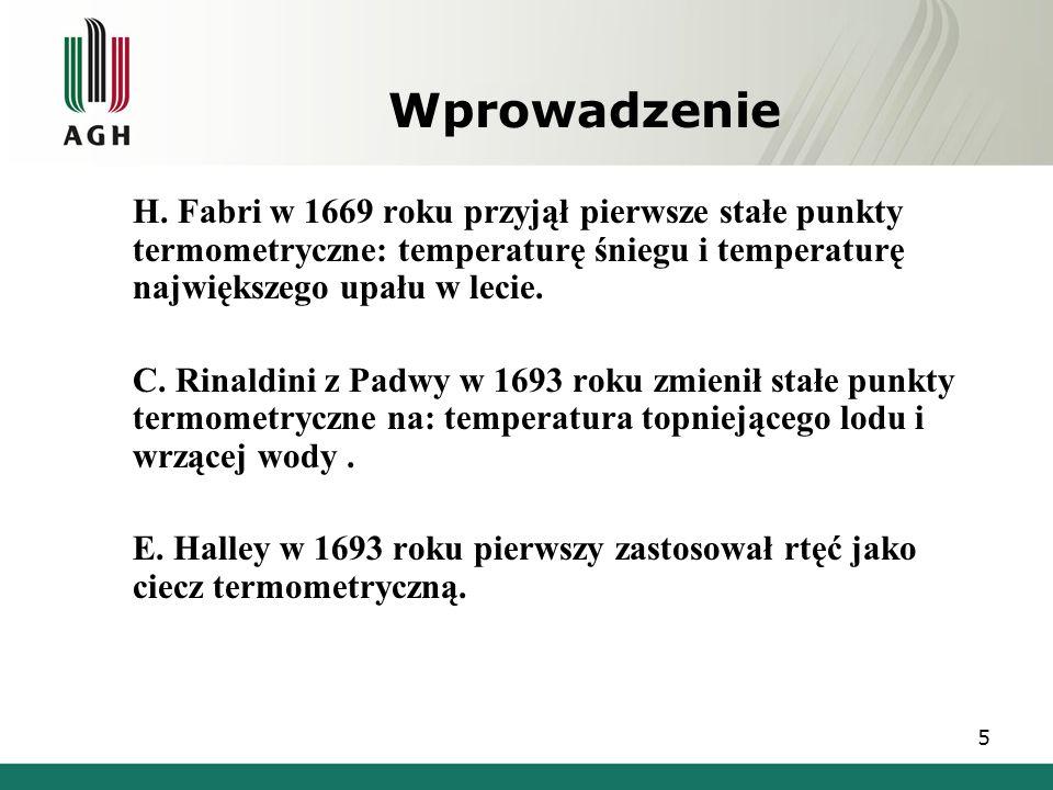 Wprowadzenie H. Fabri w 1669 roku przyjął pierwsze stałe punkty termometryczne: temperaturę śniegu i temperaturę największego upału w lecie.
