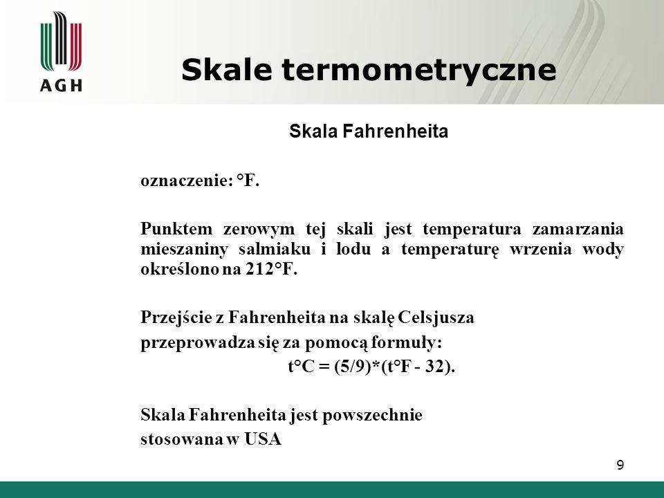 Skale termometryczne Skala Fahrenheita oznaczenie: °F.