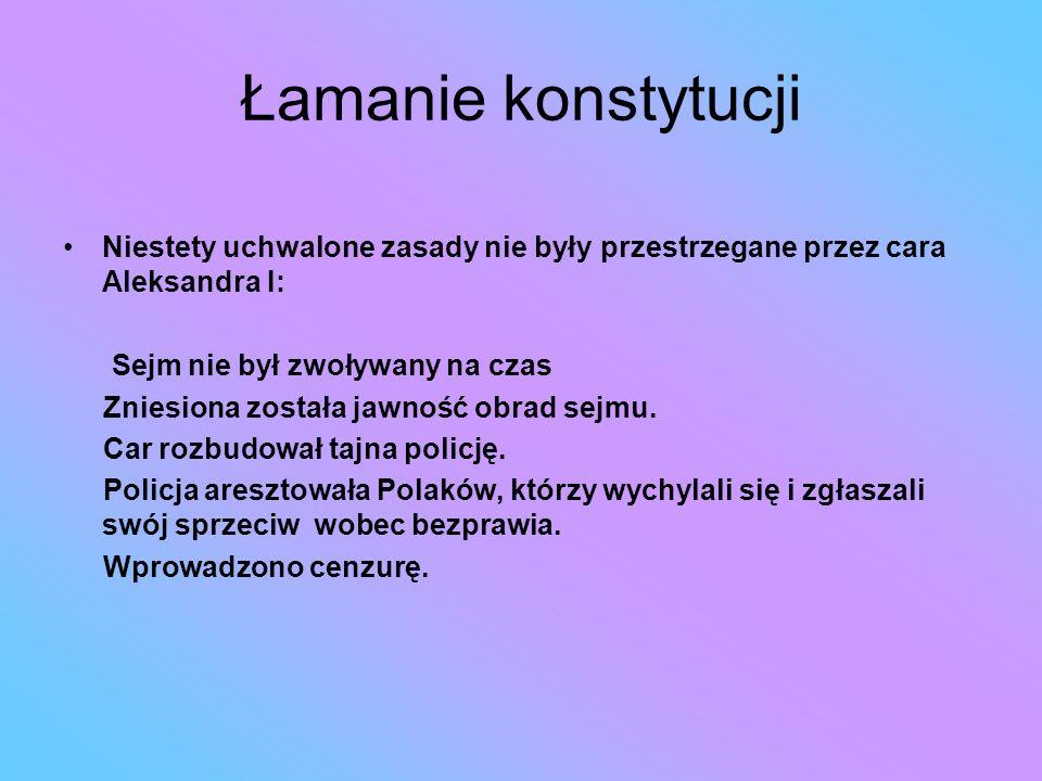 Łamanie konstytucji Niestety uchwalone zasady nie były przestrzegane przez cara Aleksandra I: Sejm nie był zwoływany na czas.