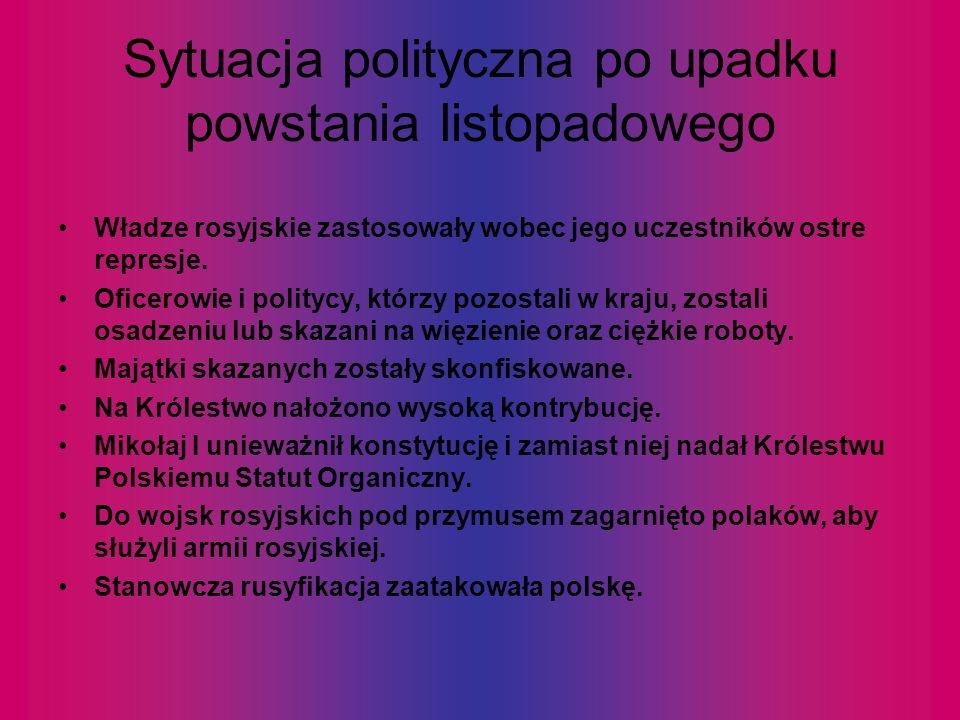 Sytuacja polityczna po upadku powstania listopadowego