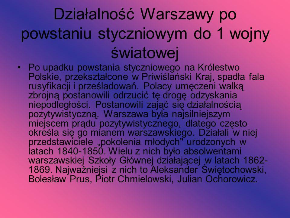 Działalność Warszawy po powstaniu styczniowym do 1 wojny światowej