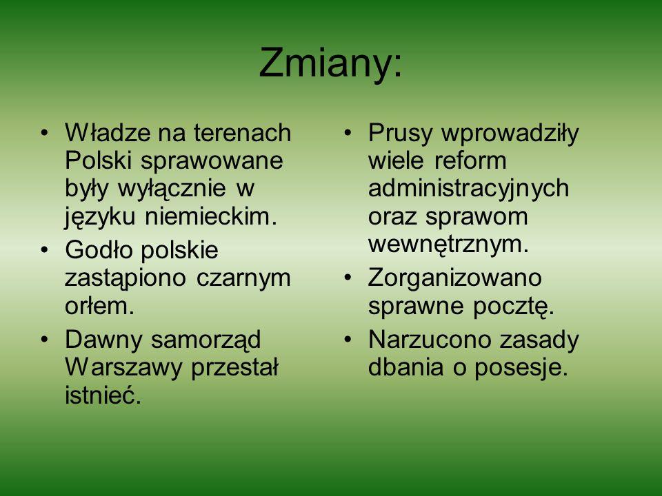Zmiany: Władze na terenach Polski sprawowane były wyłącznie w języku niemieckim. Godło polskie zastąpiono czarnym orłem.