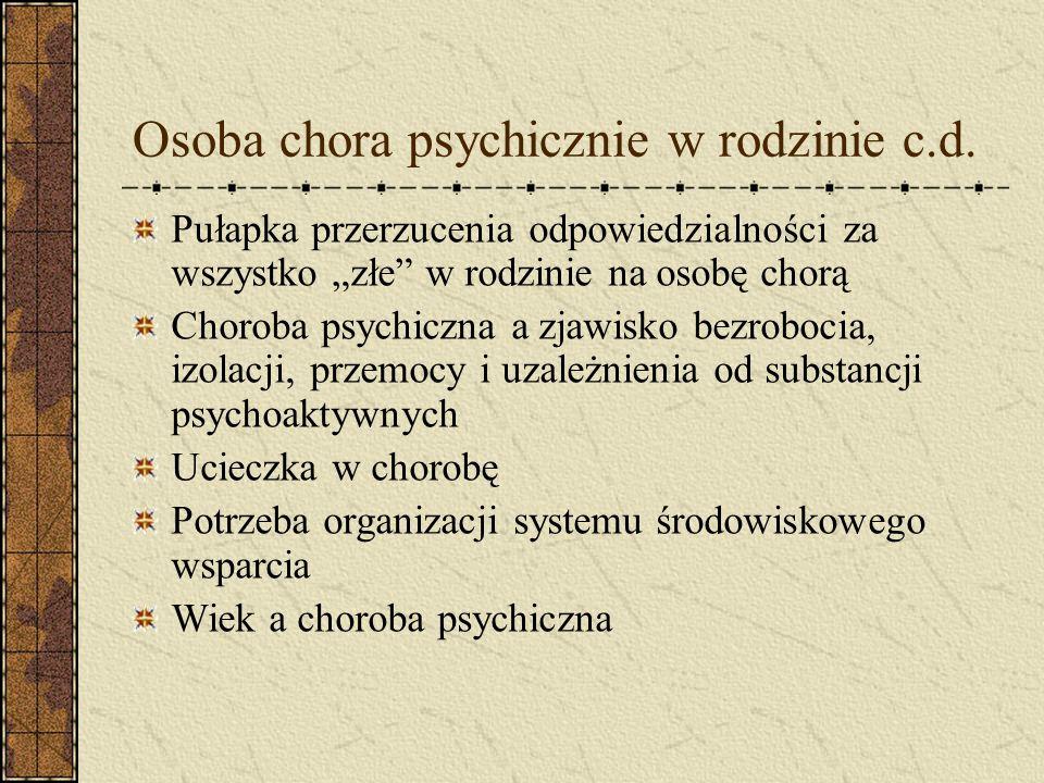 Osoba chora psychicznie w rodzinie c.d.