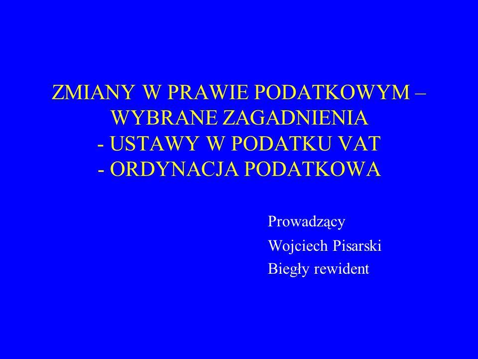 Prowadzący Wojciech Pisarski Biegły rewident
