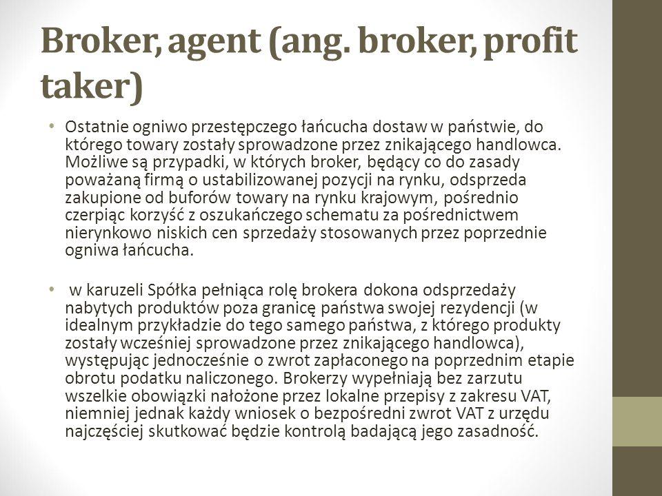 Broker, agent (ang. broker, profit taker)