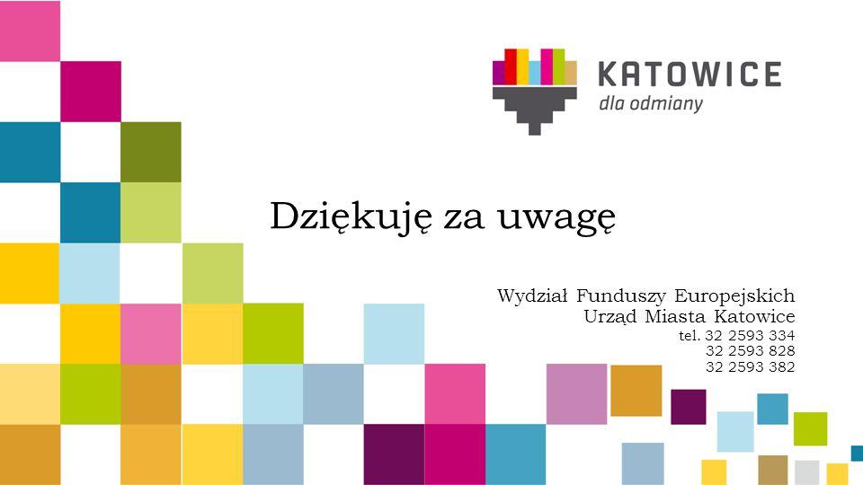 Dziękuję za uwagę Wydział Funduszy Europejskich Urząd Miasta Katowice tel.