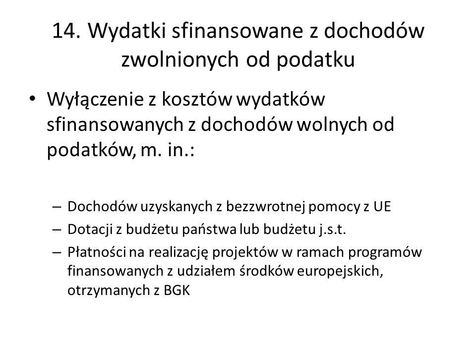 14. Wydatki sfinansowane z dochodów zwolnionych od podatku