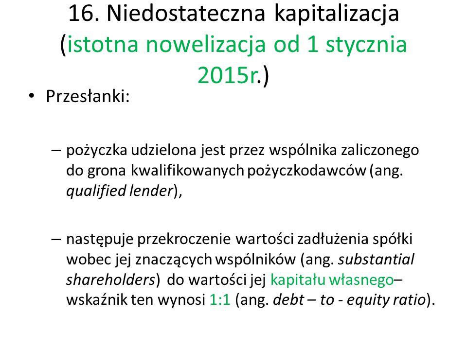 16. Niedostateczna kapitalizacja (istotna nowelizacja od 1 stycznia 2015r.)