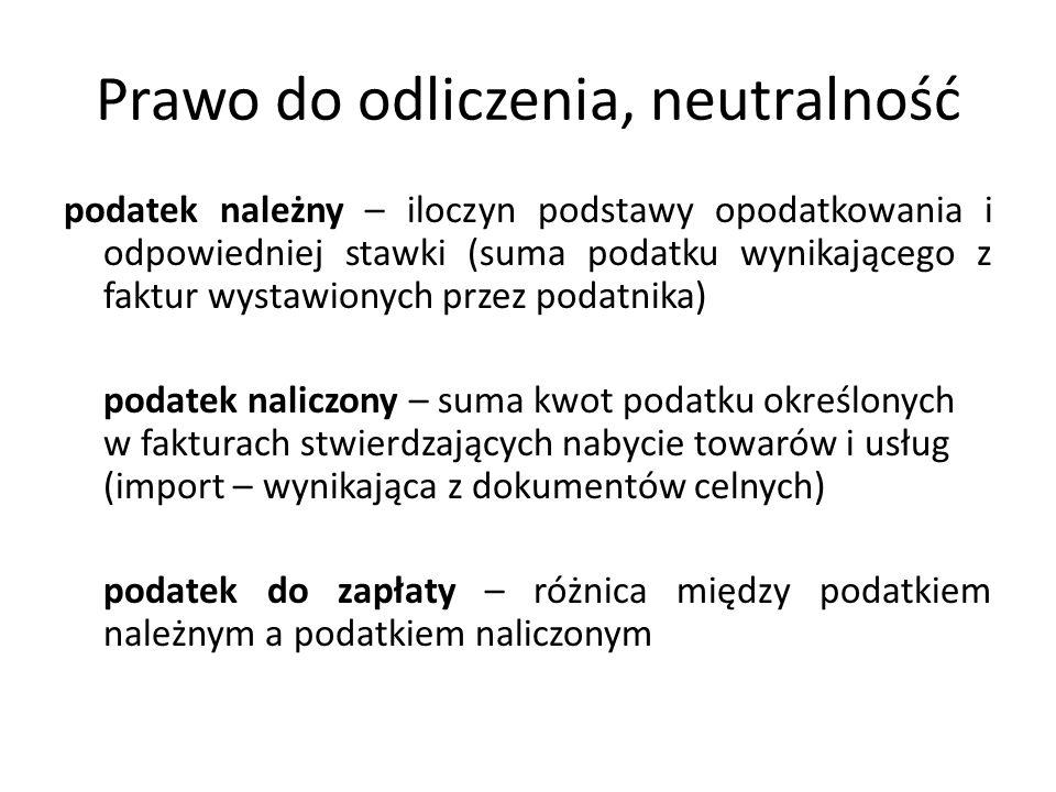 Prawo do odliczenia, neutralność