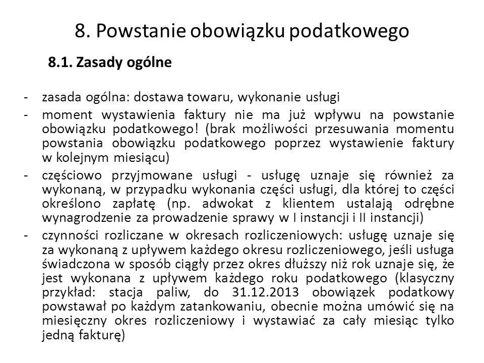 8. Powstanie obowiązku podatkowego