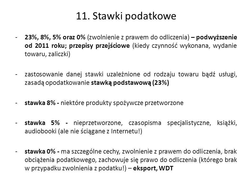 11. Stawki podatkowe