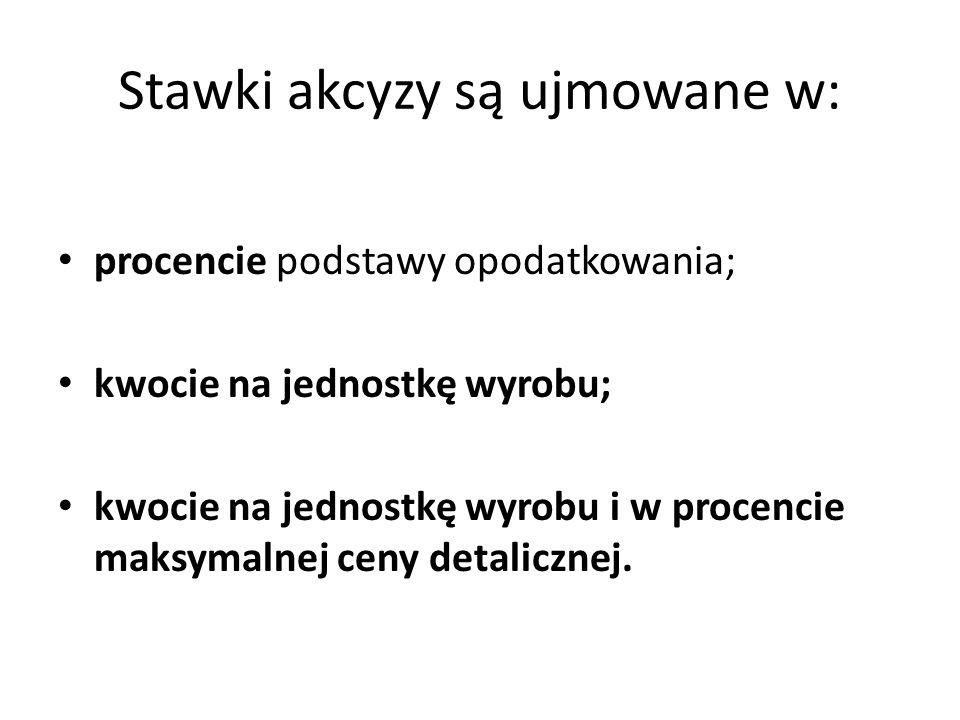 Stawki akcyzy są ujmowane w: