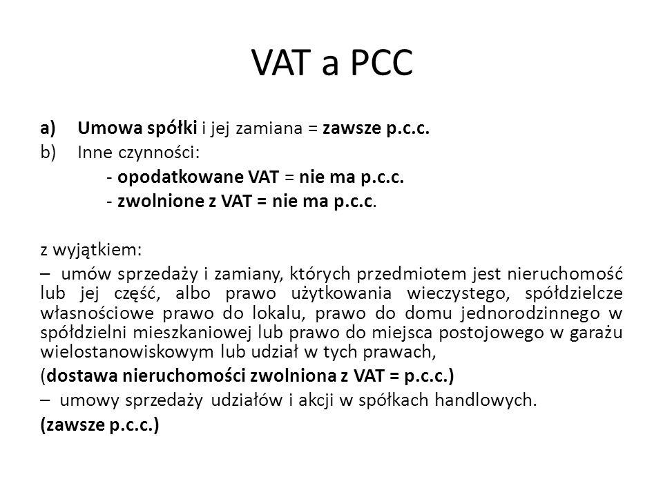 VAT a PCC Umowa spółki i jej zamiana = zawsze p.c.c. Inne czynności: