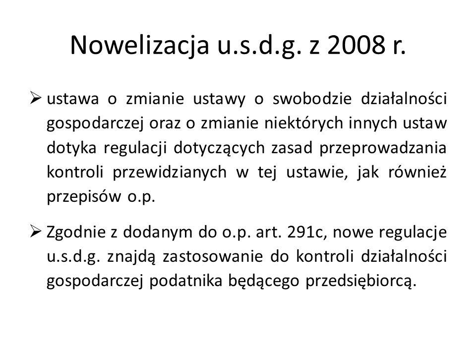 Nowelizacja u.s.d.g. z 2008 r.