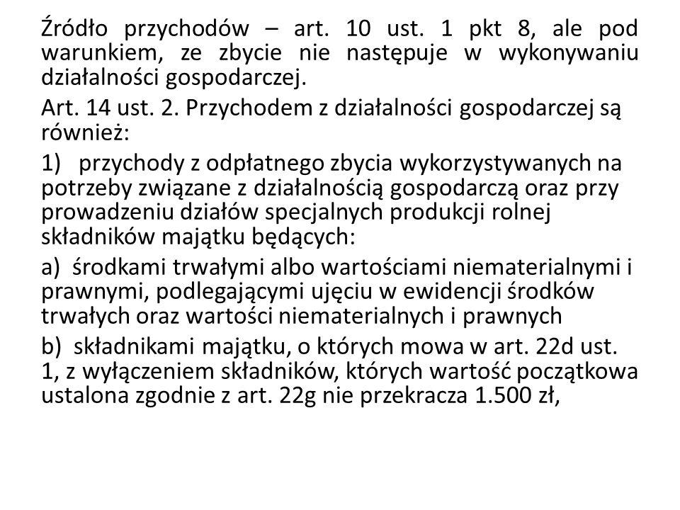Źródło przychodów – art. 10 ust
