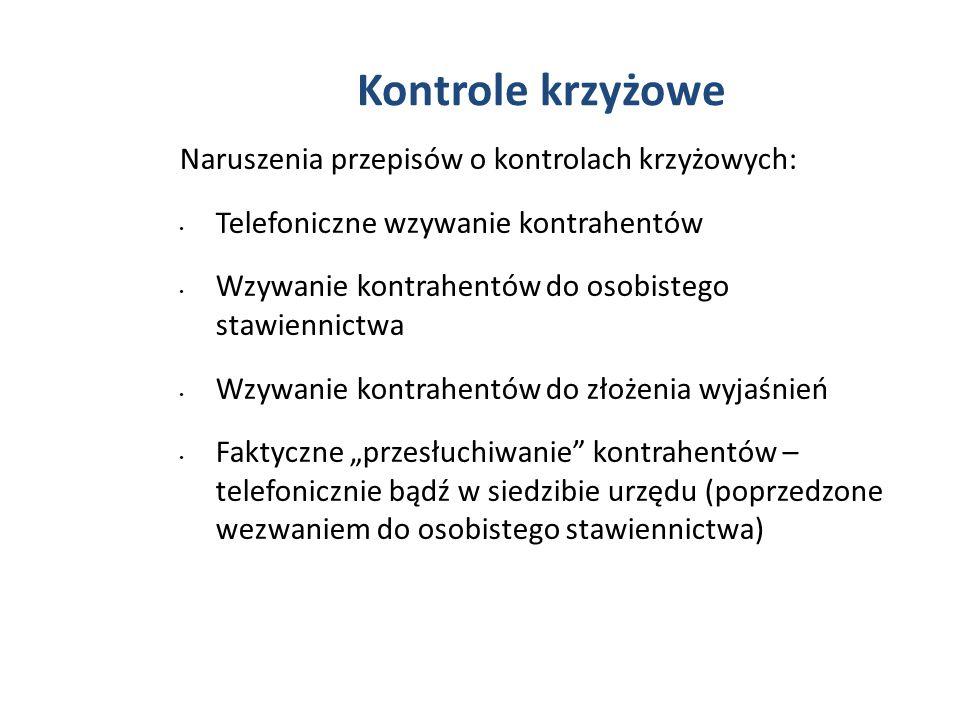Kontrole krzyżowe Naruszenia przepisów o kontrolach krzyżowych: