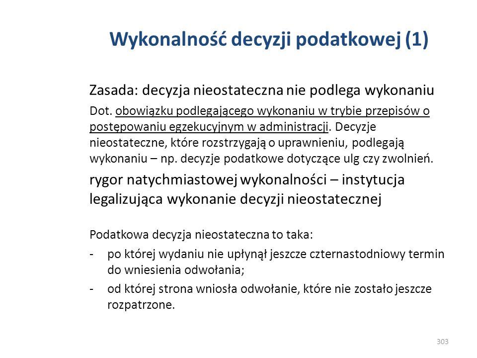 Wykonalność decyzji podatkowej (1)