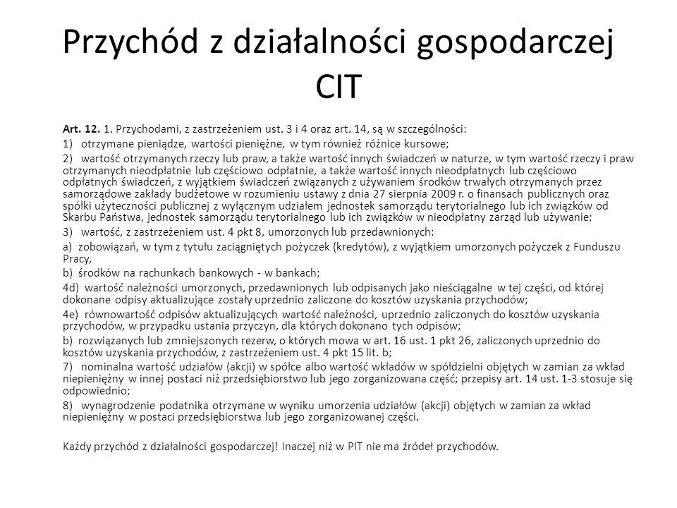 Przychód z działalności gospodarczej CIT