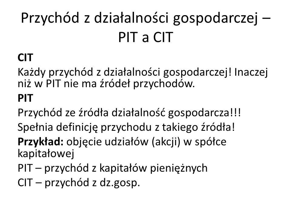 Przychód z działalności gospodarczej – PIT a CIT