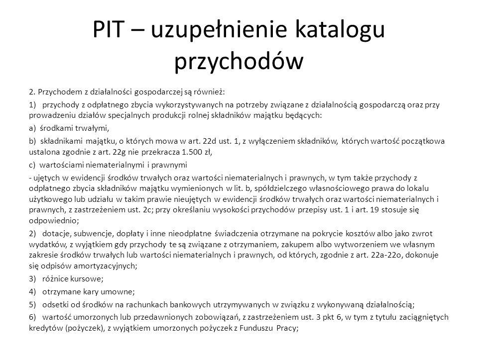 PIT – uzupełnienie katalogu przychodów
