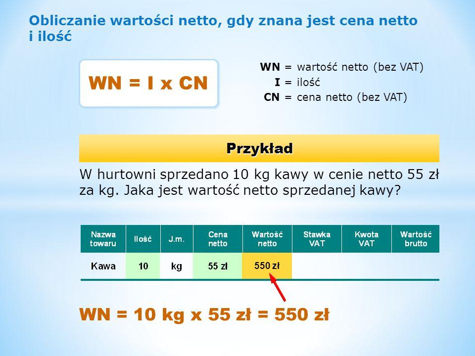 WN = I x CN WN = 10 kg x 55 zł = 550 zł Przykład