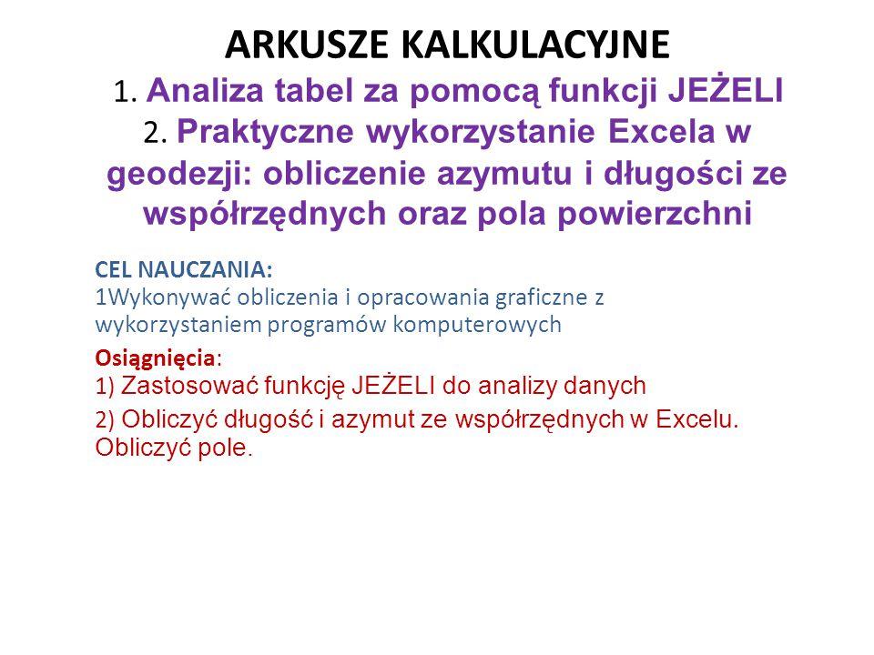 ARKUSZE KALKULACYJNE 1. Analiza tabel za pomocą funkcji JEŻELI 2