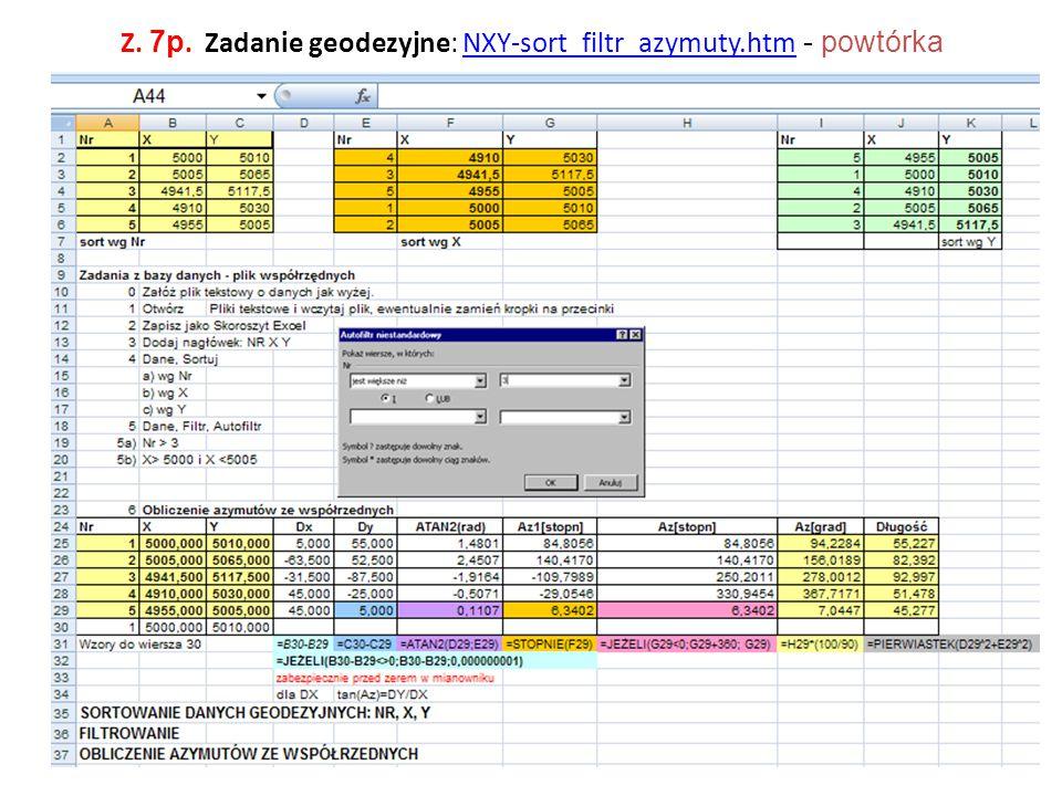 Z. 7p. Zadanie geodezyjne: NXY-sort_filtr_azymuty.htm - powtórka