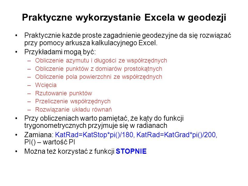 Praktyczne wykorzystanie Excela w geodezji