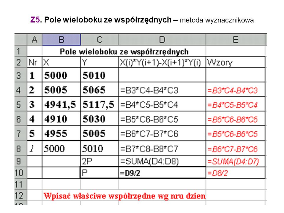 Z5. Pole wieloboku ze współrzędnych – metoda wyznacznikowa