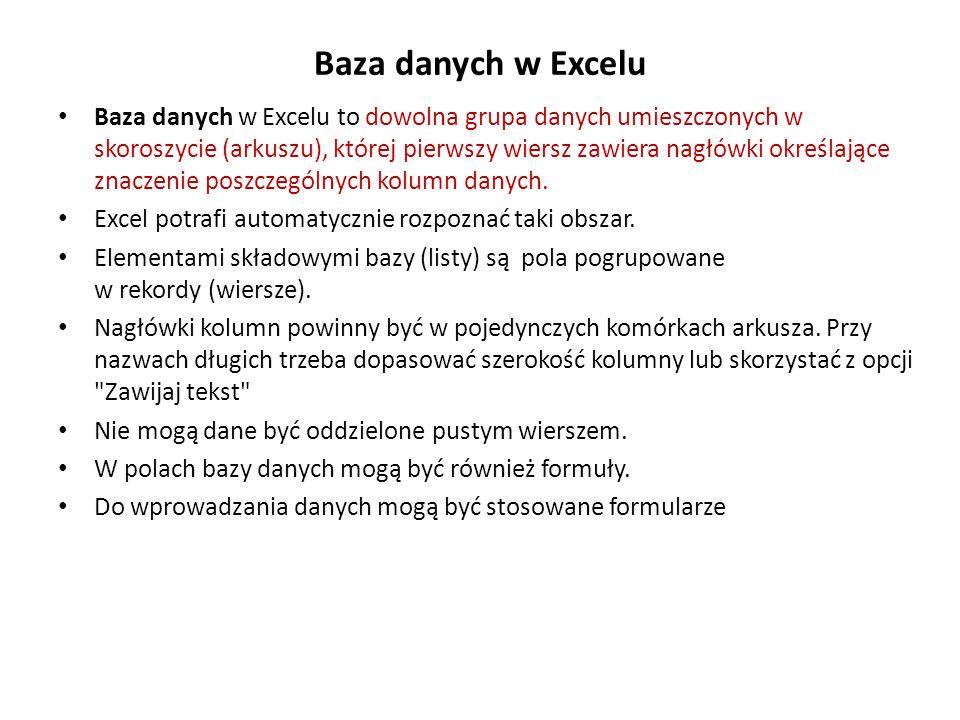 Baza danych w Excelu