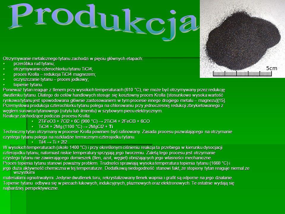 Produkcja Otrzymywanie metalicznego tytanu zachodzi w pięciu głównych etapach: przeróbka rud tytanu;