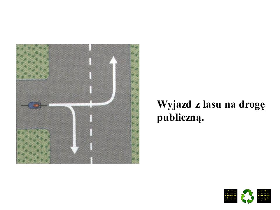 Wyjazd z lasu na drogę publiczną.