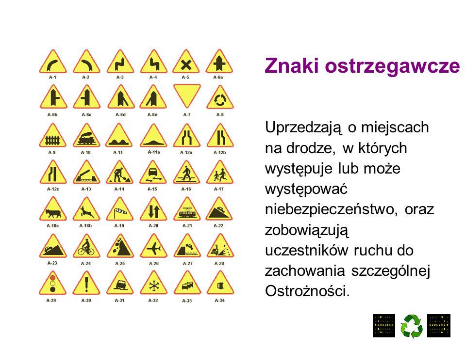 Znaki ostrzegawcze Uprzedzają o miejscach na drodze, w których
