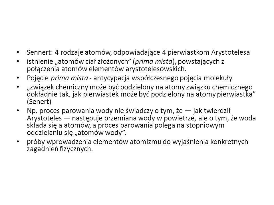 Sennert: 4 rodzaje atomów, odpowiadające 4 pierwiastkom Arystotelesa