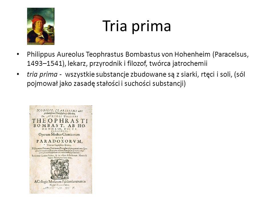 Tria prima Philippus Aureolus Teophrastus Bombastus von Hohenheim (Paracelsus, 1493–1541), lekarz, przyrodnik i filozof, twórca jatrochemii.