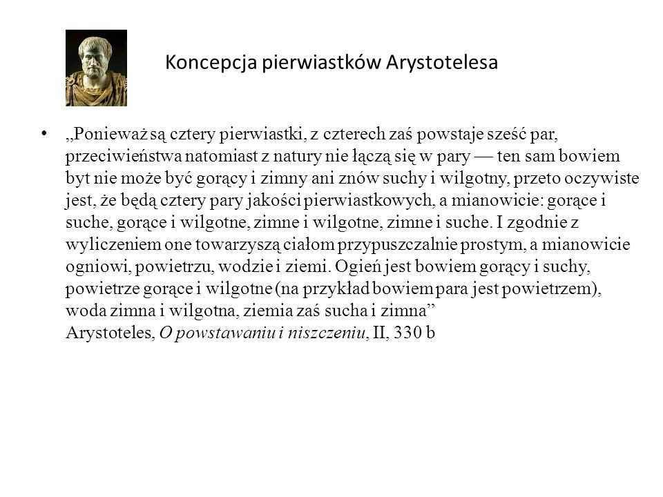 Koncepcja pierwiastków Arystotelesa