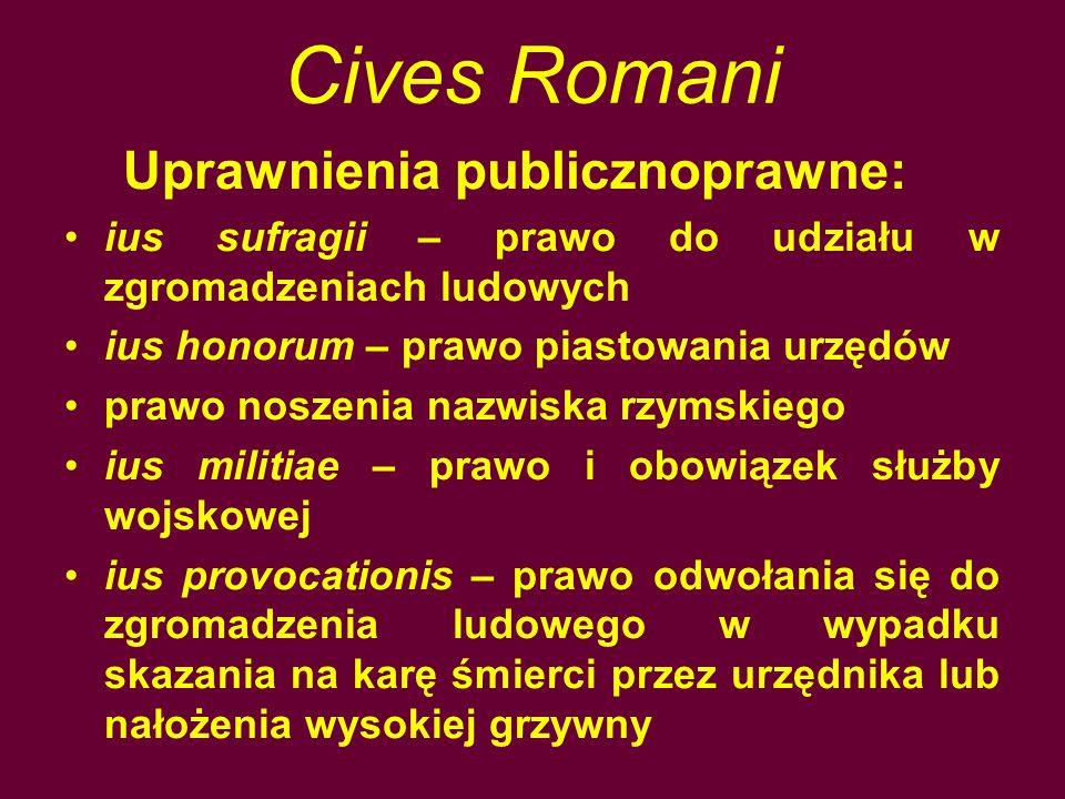 Cives Romani Uprawnienia publicznoprawne: